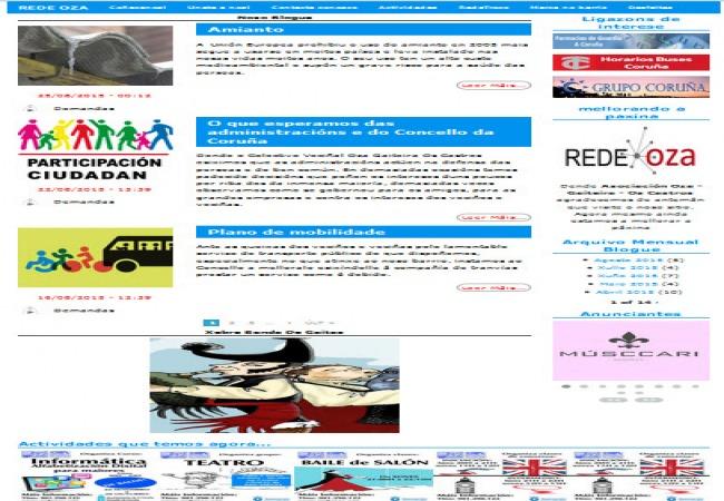 Pagina principal con el blog de la Asociación totalmente categorizado