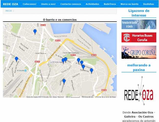Sección de vista de mapa con distintas marcas con los comerciantes de la zona