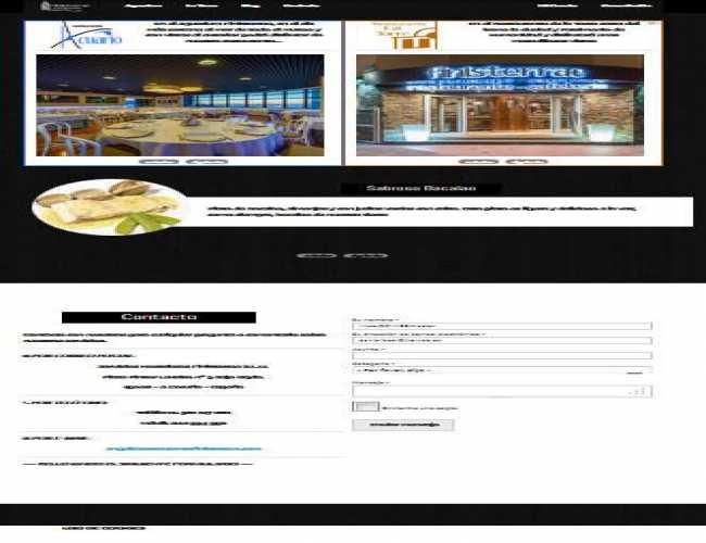 Página principal de la empresa, con formulario de contacto para los demás restaurantes